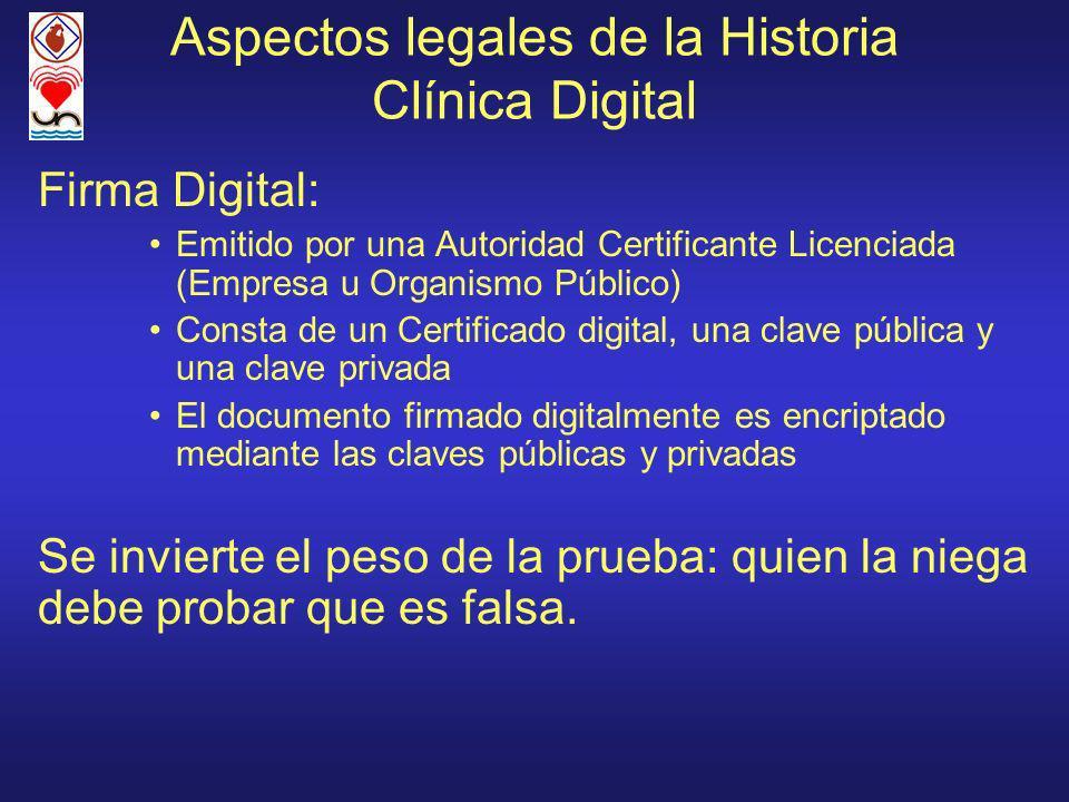 Aspectos legales de la Historia Clínica Digital Firma Digital: Emitido por una Autoridad Certificante Licenciada (Empresa u Organismo Público) Consta