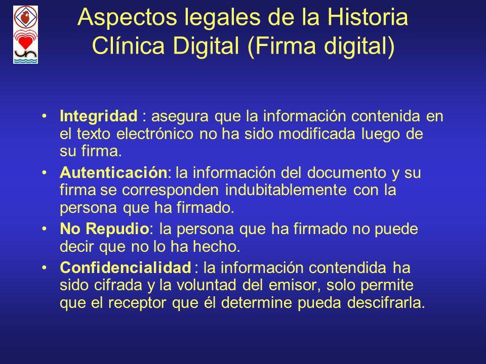 Aspectos legales de la Historia Clínica Digital (Firma digital) Integridad : asegura que la información contenida en el texto electrónico no ha sido modificada luego de su firma.
