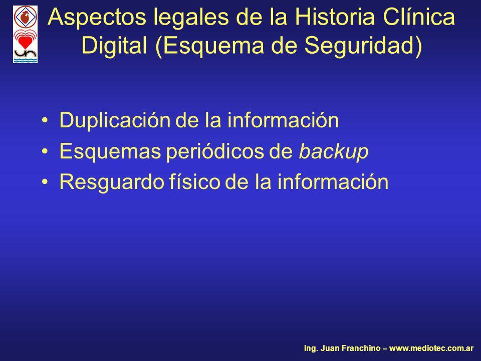Duplicación de la información Esquemas periódicos de backup Resguardo físico de la información Aspectos legales de la Historia Clínica Digital (Esquema de Seguridad) Ing.