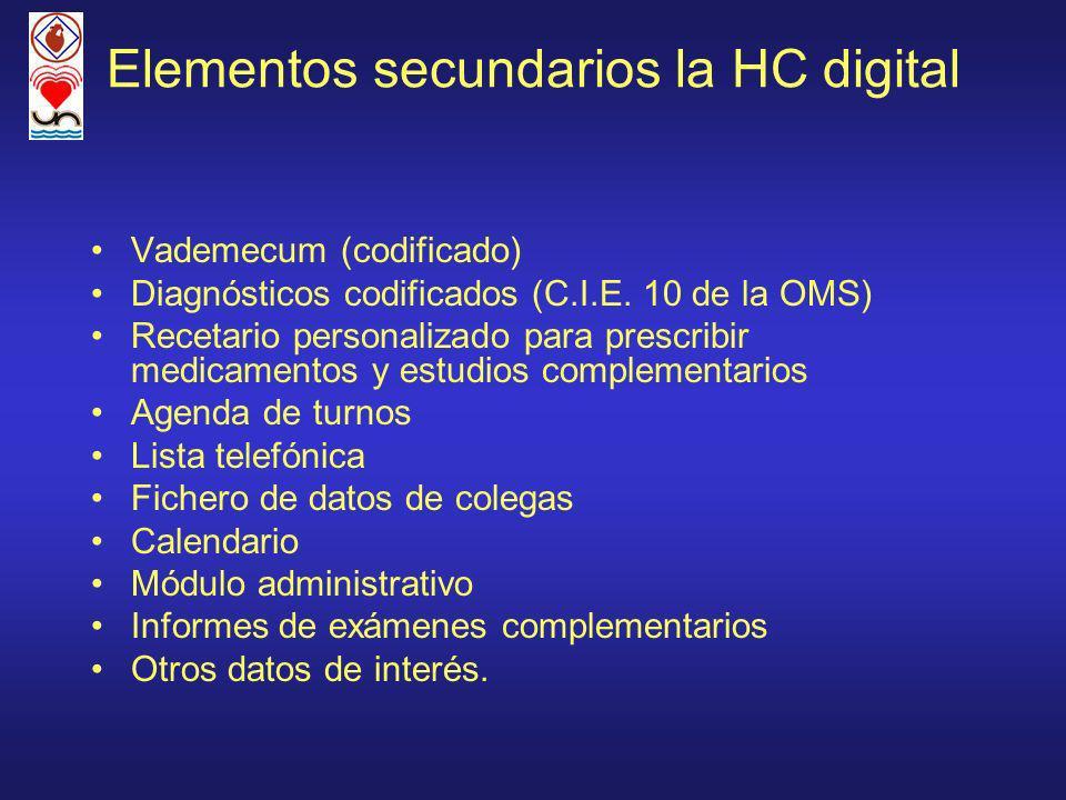 Elementos secundarios la HC digital Vademecum (codificado) Diagnósticos codificados (C.I.E. 10 de la OMS) Recetario personalizado para prescribir medi