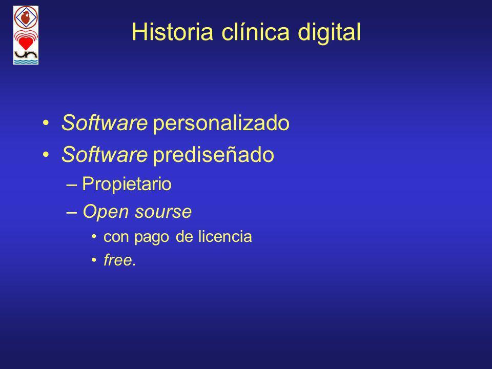 Historia clínica digital Software personalizado Software prediseñado –Propietario –Open sourse con pago de licencia free.
