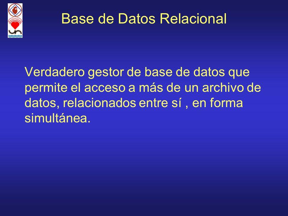 Base de Datos Relacional Verdadero gestor de base de datos que permite el acceso a más de un archivo de datos, relacionados entre sí, en forma simultá
