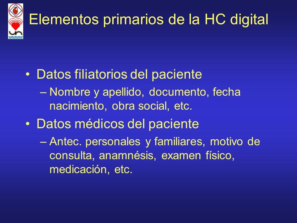 Elementos primarios de la HC digital Datos filiatorios del paciente –Nombre y apellido, documento, fecha nacimiento, obra social, etc. Datos médicos d