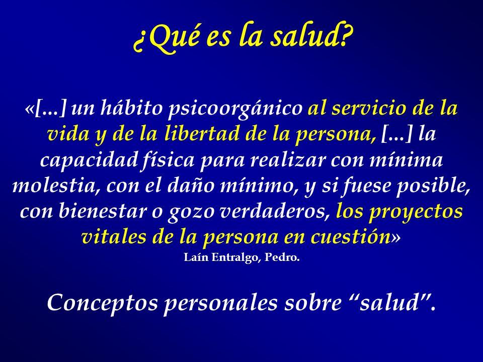 ¿Qué es la salud? «[...] un hábito psicoorgánico al servicio de la vida y de la libertad de la persona, [...] la capacidad física para realizar con mí