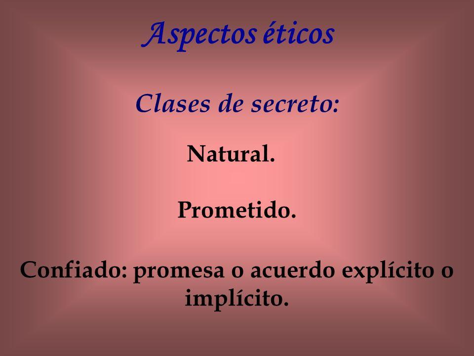 Aspectos éticos Clases de secreto: Natural. Prometido. Confiado: promesa o acuerdo explícito o implícito.