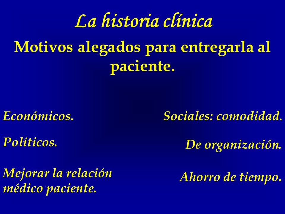 La historia clínica Motivos alegados para entregarla al paciente. Económicos.Sociales: comodidad. Políticos. De organización. Mejorar la relación médi