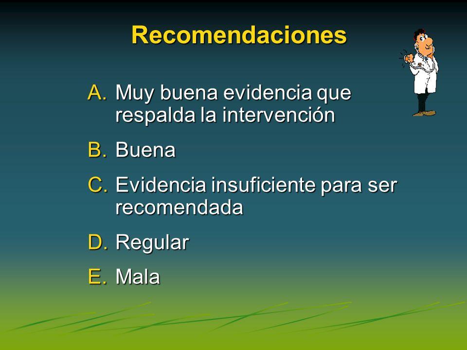 A.Muy buena evidencia que respalda la intervención B.Buena C.Evidencia insuficiente para ser recomendada D.Regular E.Mala Recomendaciones