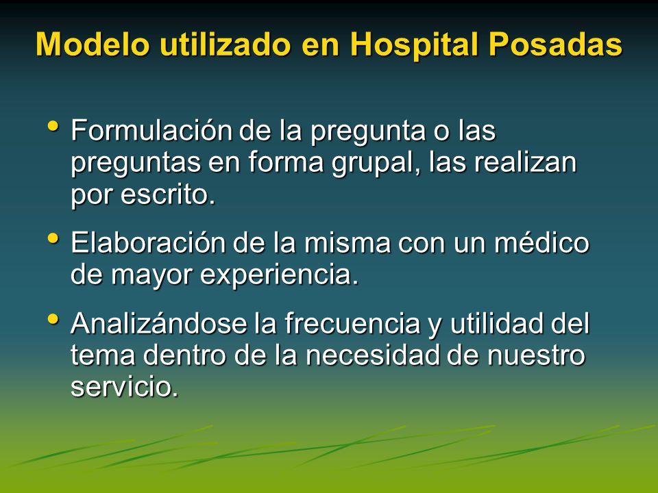 Modelo utilizado en Hospital Posadas Formulación de la pregunta o las preguntas en forma grupal, las realizan por escrito. Formulación de la pregunta