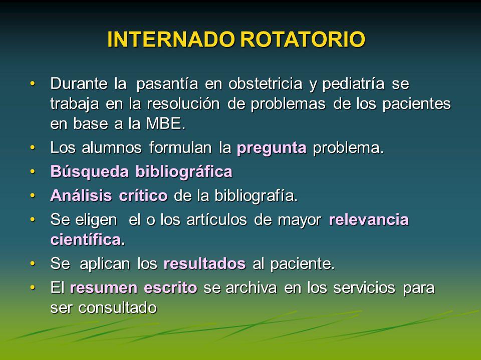 Durante la pasantía en obstetricia y pediatría se trabaja en la resolución de problemas de los pacientes en base a la MBE.Durante la pasantía en obste