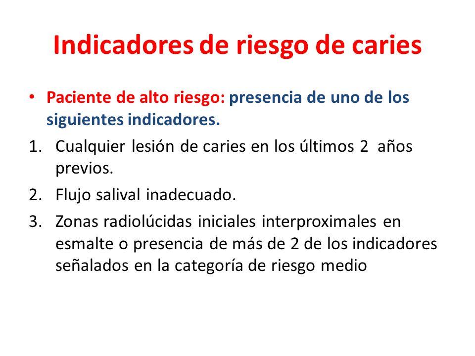 Indicadores de riesgo de caries Paciente de alto riesgo: presencia de uno de los siguientes indicadores. 1.Cualquier lesión de caries en los últimos 2