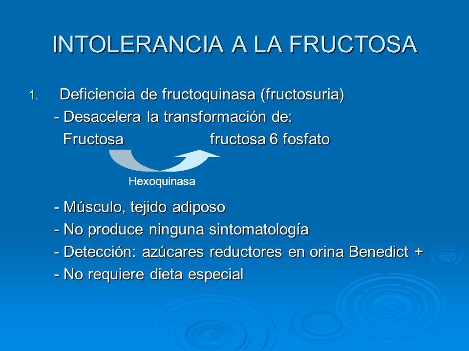 INTOLERANCIA A LA FRUCTOSA 1. Deficiencia de fructoquinasa (fructosuria) - Desacelera la transformación de: - Desacelera la transformación de: Fructos