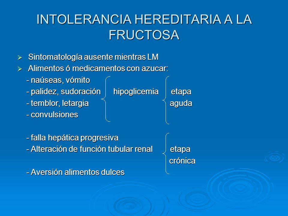 INTOLERANCIA HEREDITARIA A LA FRUCTOSA Sintomatología ausente mientras LM Sintomatología ausente mientras LM Alimentos ó medicamentos con azucar: Alim