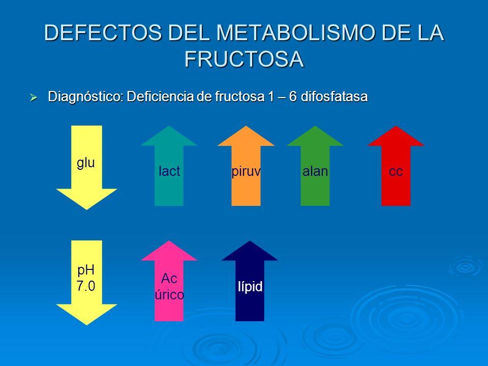 DEFECTOS DEL METABOLISMO DE LA FRUCTOSA Diagnóstico: Deficiencia de fructosa 1 – 6 difosfatasa Diagnóstico: Deficiencia de fructosa 1 – 6 difosfatasa