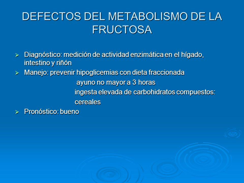 DEFECTOS DEL METABOLISMO DE LA FRUCTOSA Diagnóstico: medición de actividad enzimática en el hígado, intestino y riñón Diagnóstico: medición de activid