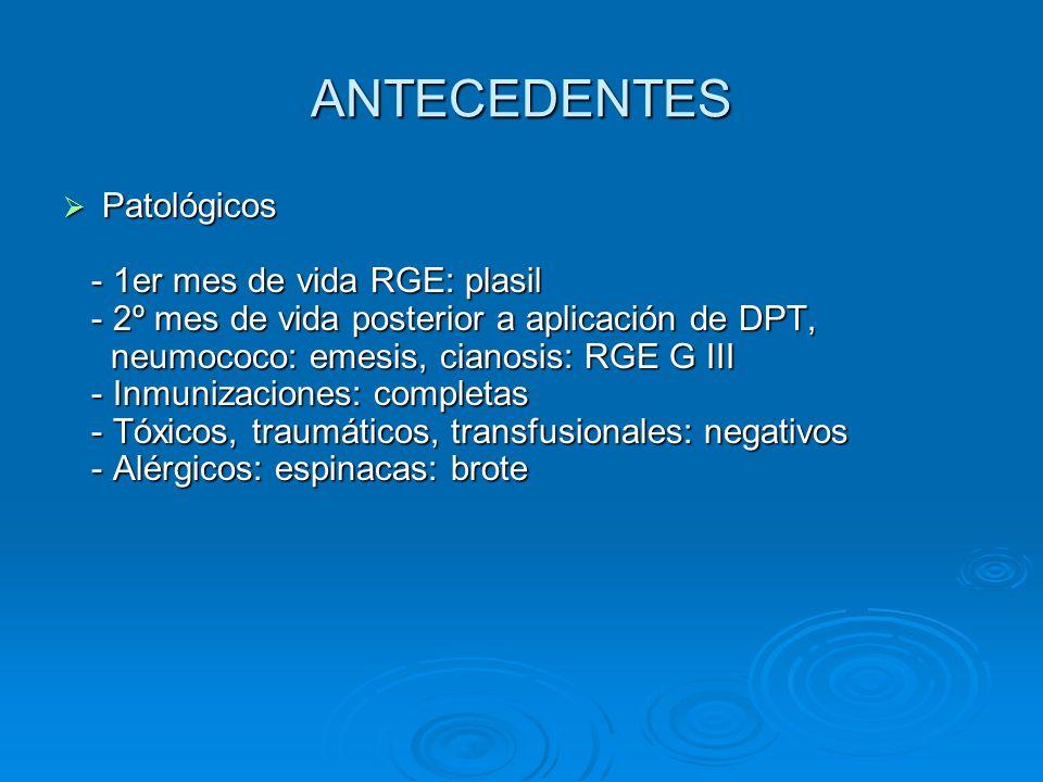 ANTECEDENTES Patológicos Patológicos - 1er mes de vida RGE: plasil - 1er mes de vida RGE: plasil - 2º mes de vida posterior a aplicación de DPT, - 2º