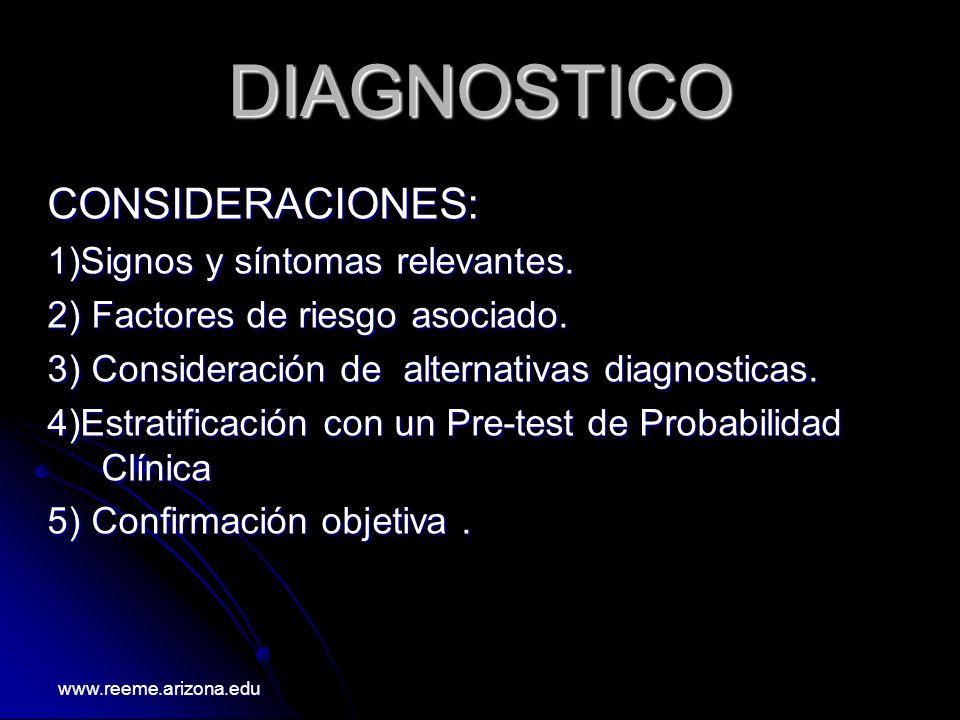 DIAGNOSTICO CONSIDERACIONES: 1)Signos y síntomas relevantes. 2) Factores de riesgo asociado. 3) Consideración de alternativas diagnosticas. 4)Estratif