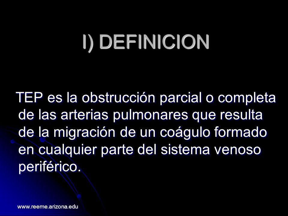 I) DEFINICION TEP es la obstrucción parcial o completa de las arterias pulmonares que resulta de la migración de un coágulo formado en cualquier parte