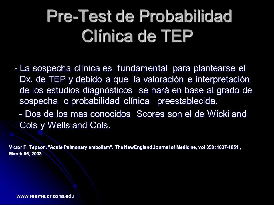 Pre-Test de Probabilidad Clínica de TEP Pre-Test de Probabilidad Clínica de TEP - La sospecha clínica es fundamental para plantearse el Dx. de TEP y d