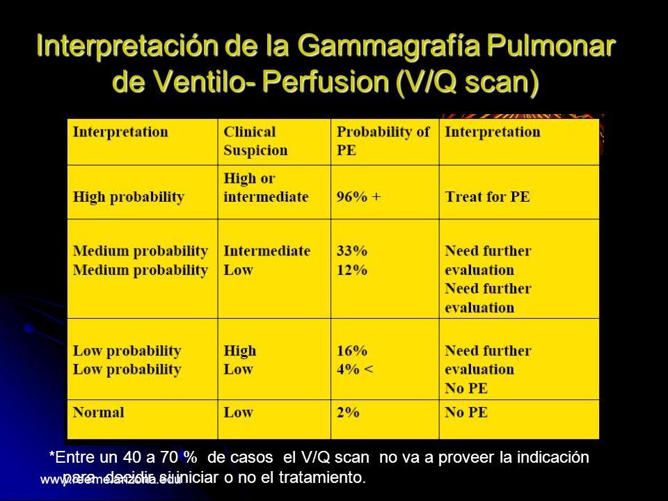 Interpretación de la Gammagrafía Pulmonar de Ventilo- Perfusion (V/Q scan) *Entre un 40 a 70 % de casos el V/Q scan no va a proveer la indicación para