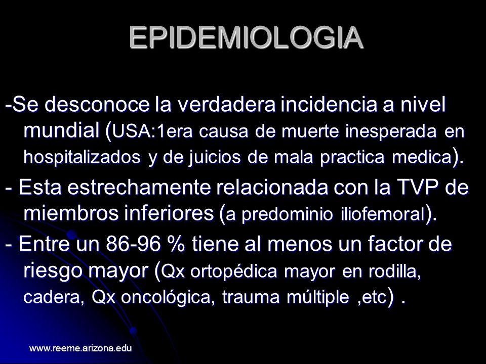 www.reeme.arizona.edu REGLAS PARA PREDECIR LA PROBABILIDAD DE EMBOLISMO PULMONAR (adaptado de Wells et.al) VariableNº de puntos Signos y síntomas de TVP3.0 Dx.