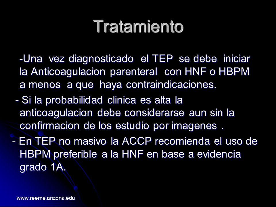 Tratamiento -Una vez diagnosticado el TEP se debe iniciar la Anticoagulacion parenteral con HNF o HBPM a menos a que haya contraindicaciones. -Una vez