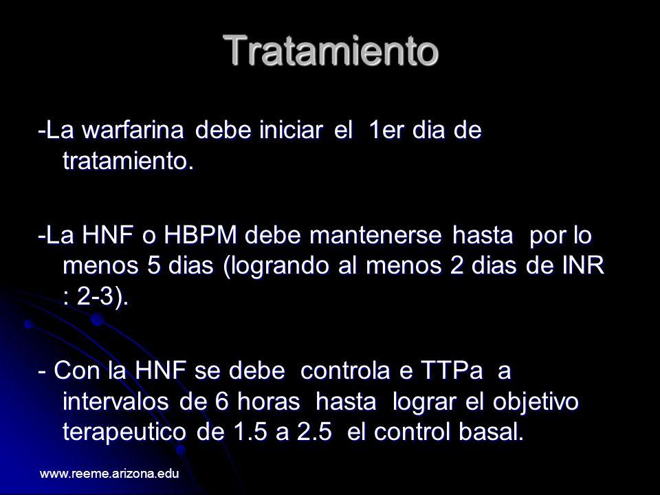 Tratamiento -La warfarina debe iniciar el 1er dia de tratamiento. -La HNF o HBPM debe mantenerse hasta por lo menos 5 dias (logrando al menos 2 dias d