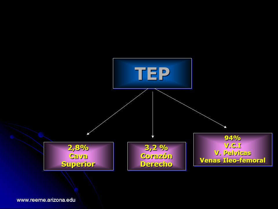 TEPTEP 2,8%CavaSuperior2,8%CavaSuperior 3,2 % CorazónDerecho CorazónDerecho 94%V.C.I V. Pelvicas Venas Ileo-femoral 94%V.C.I V. Pelvicas Venas Ileo-fe