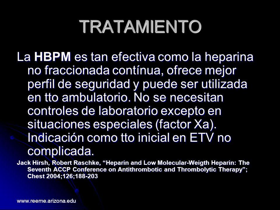 TRATAMIENTO La HBPM es tan efectiva como la heparina no fraccionada contínua, ofrece mejor perfil de seguridad y puede ser utilizada en tto ambulatori