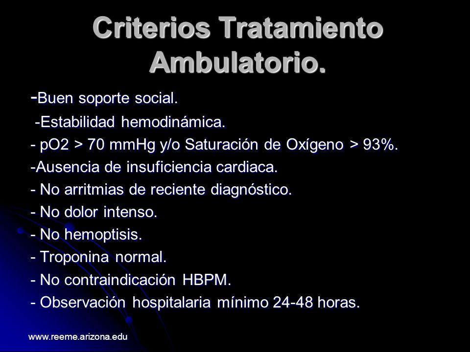 Criterios Tratamiento Ambulatorio. - Buen soporte social. -Estabilidad hemodinámica. -Estabilidad hemodinámica. - pO2 > 70 mmHg y/o Saturación de Oxíg