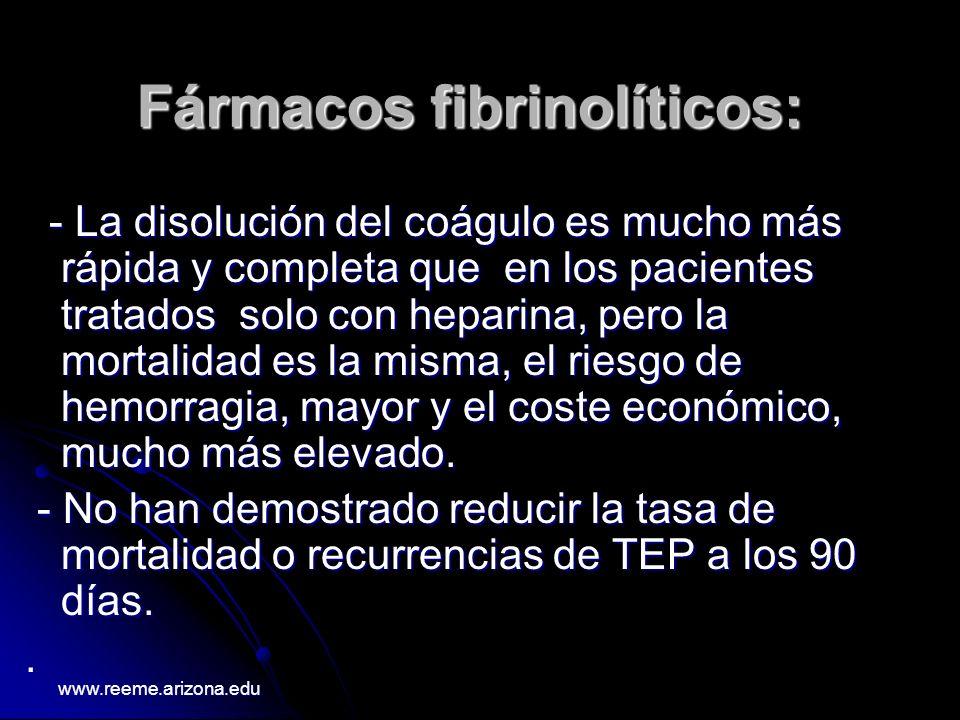 Fármacos fibrinolíticos: - La disolución del coágulo es mucho más rápida y completa que en los pacientes tratados solo con heparina, pero la mortalida