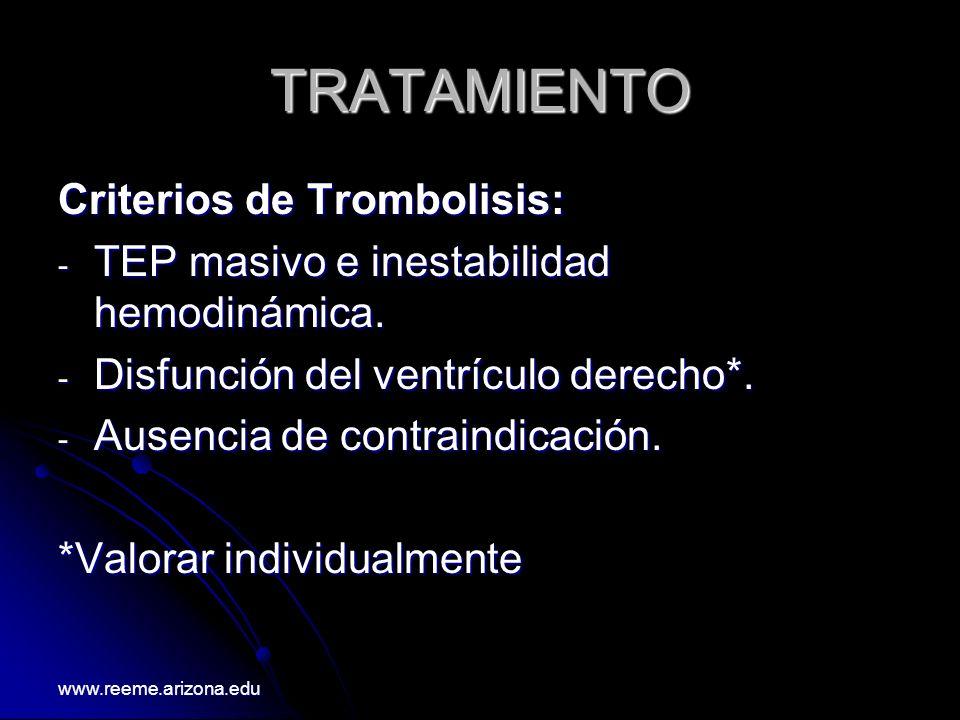 TRATAMIENTO Criterios de Trombolisis: - TEP masivo e inestabilidad hemodinámica. - Disfunción del ventrículo derecho*. - Ausencia de contraindicación.