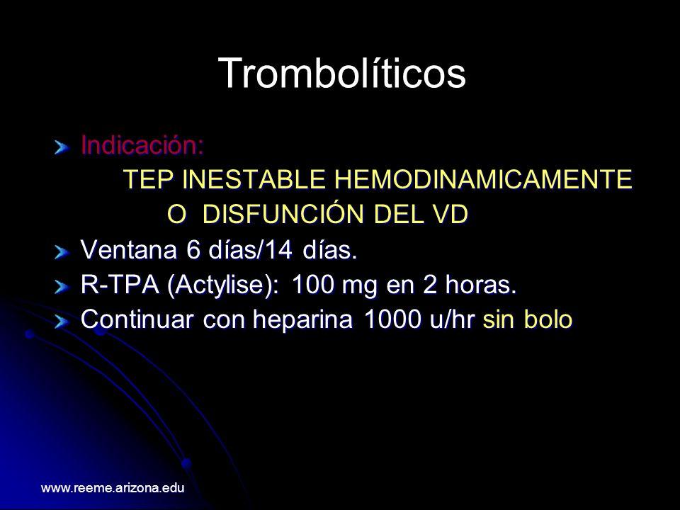 Indicación: TEP INESTABLE HEMODINAMICAMENTE O DISFUNCIÓN DEL VD O DISFUNCIÓN DEL VD Ventana 6 días/14 días. R-TPA (Actylise): 100 mg en 2 horas. Conti