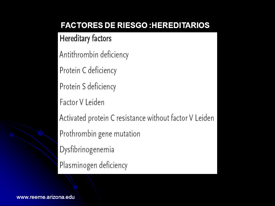 FACTORES DE RIESGO : PROBABLES www.reeme.arizona.edu