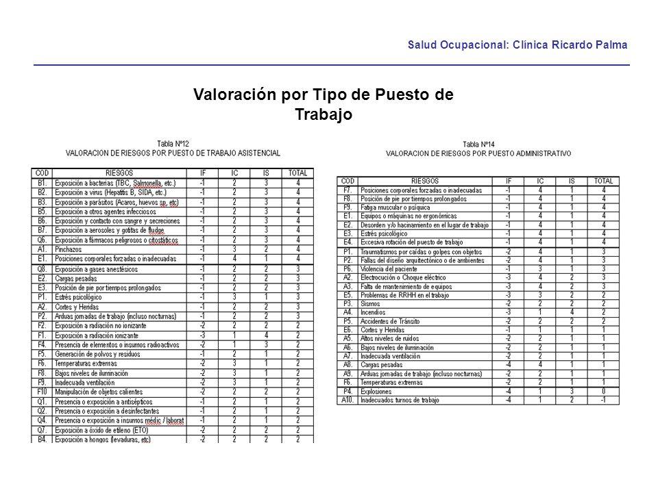 Salud Ocupacional: Clínica Ricardo Palma Valoración por Tipo de Puesto de Trabajo