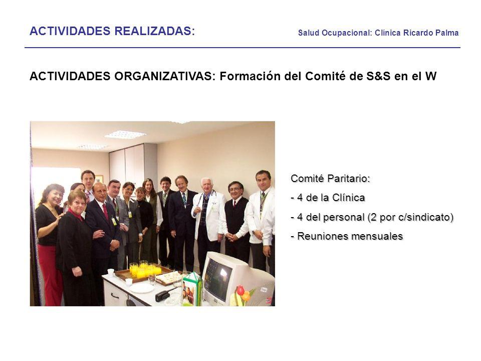 Salud Ocupacional: Clínica Ricardo Palma ACTIVIDADES REALIZADAS: ACTIVIDADES ORGANIZATIVAS: Formación del Comité de S&S en el W Comité Paritario: - 4