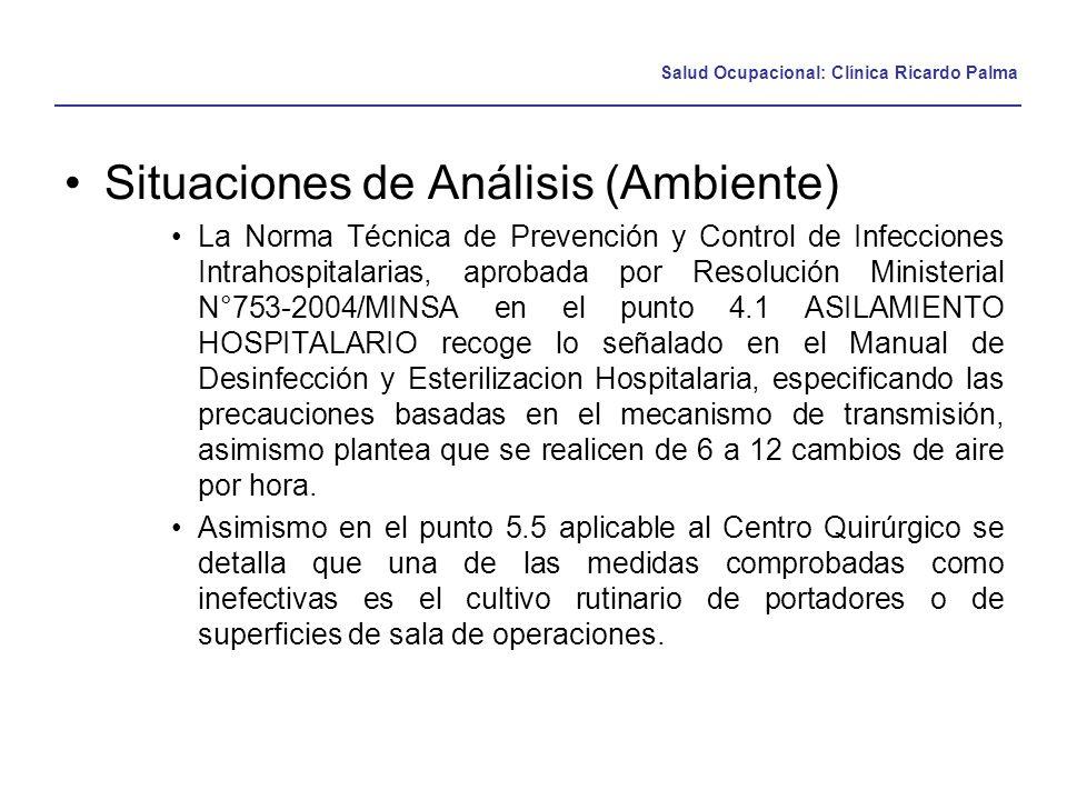 Salud Ocupacional: Clínica Ricardo Palma Situaciones de Análisis (Ambiente) La Norma Técnica de Prevención y Control de Infecciones Intrahospitalarias