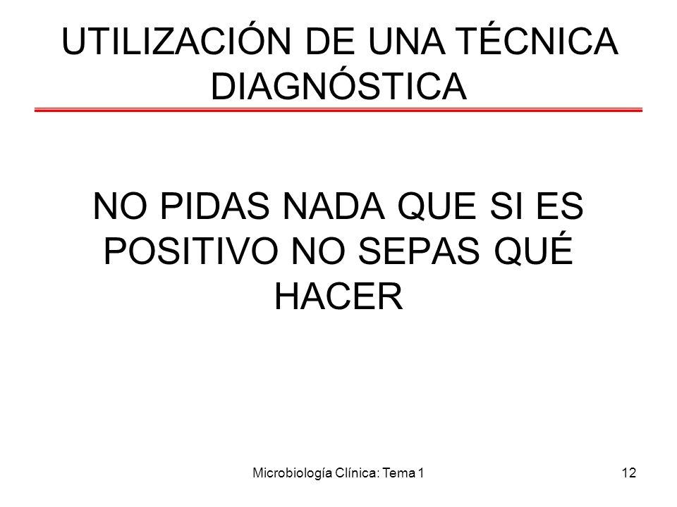 Microbiología Clínica: Tema 112 NO PIDAS NADA QUE SI ES POSITIVO NO SEPAS QUÉ HACER UTILIZACIÓN DE UNA TÉCNICA DIAGNÓSTICA
