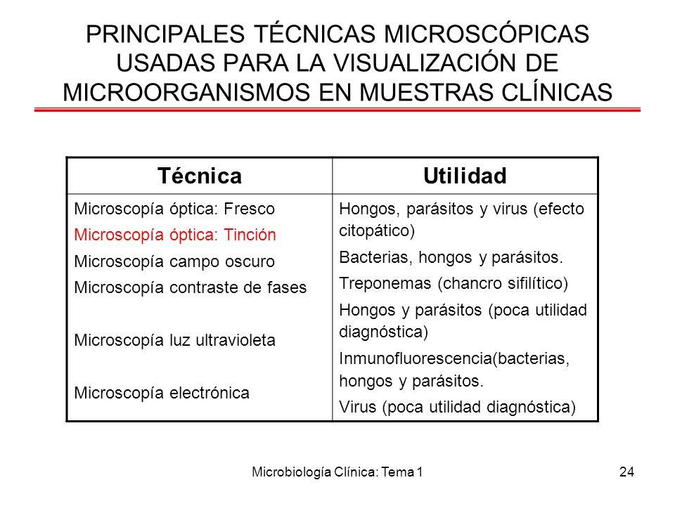 Microbiología Clínica: Tema 124 PRINCIPALES TÉCNICAS MICROSCÓPICAS USADAS PARA LA VISUALIZACIÓN DE MICROORGANISMOS EN MUESTRAS CLÍNICAS TécnicaUtilida