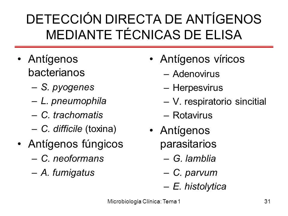 Microbiología Clínica: Tema 131 DETECCIÓN DIRECTA DE ANTÍGENOS MEDIANTE TÉCNICAS DE ELISA Antígenos bacterianos –S. pyogenes –L. pneumophila –C. trach