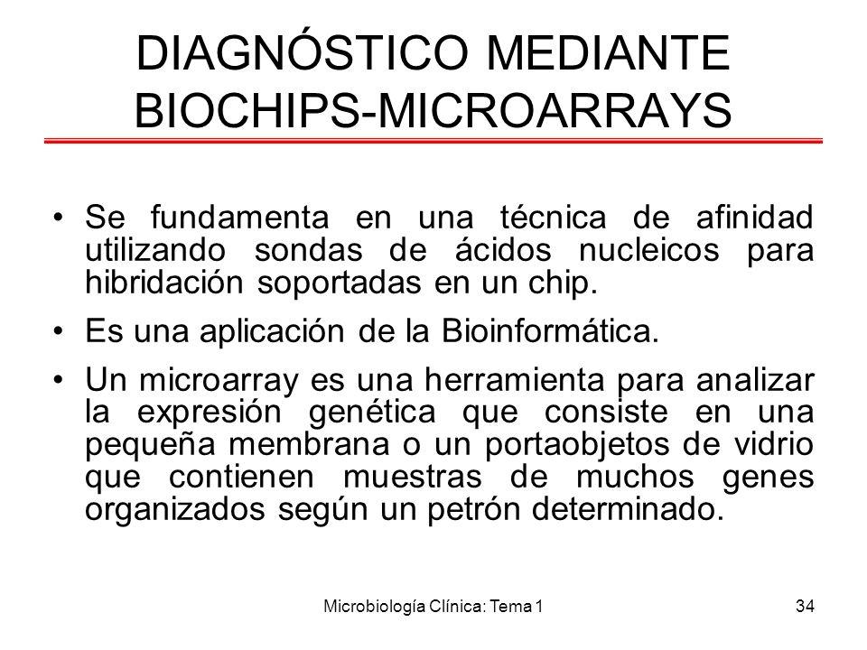 Microbiología Clínica: Tema 134 DIAGNÓSTICO MEDIANTE BIOCHIPS-MICROARRAYS Se fundamenta en una técnica de afinidad utilizando sondas de ácidos nucleic