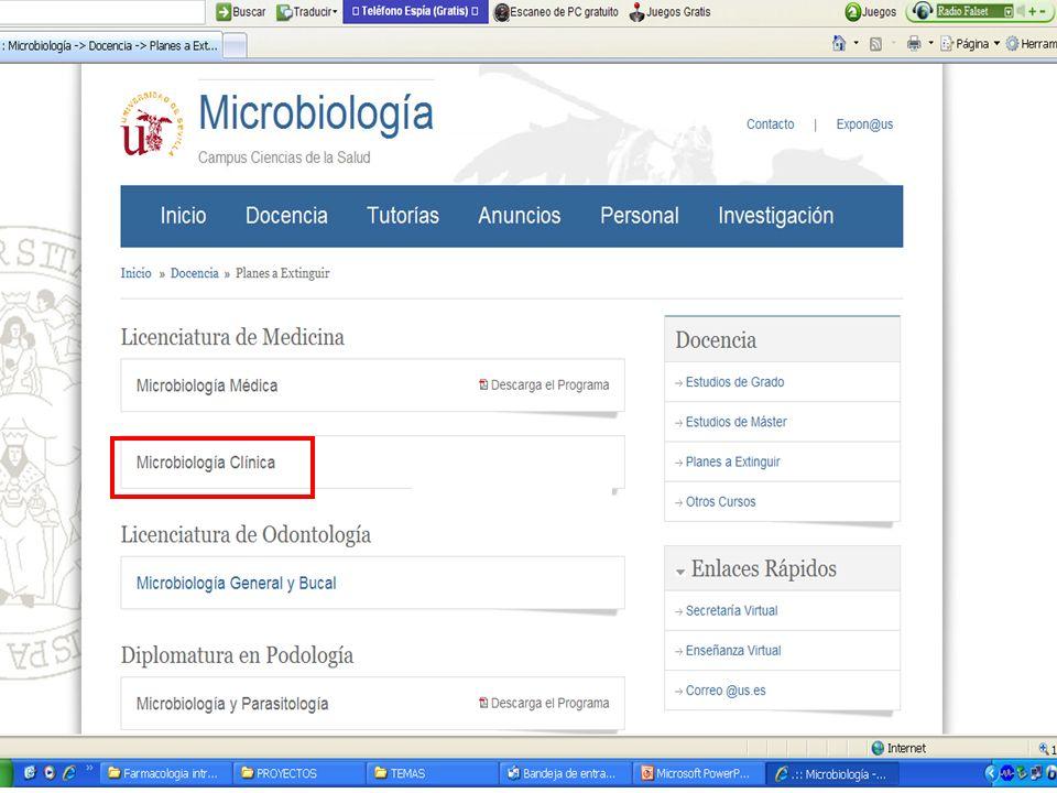 Microbiología Clínica: Tema 115 SENSIBILIDAD (S) S = Verdadero positivo (VP) (VP) + Falso negativo (FN) Verdadero negativo (VN) E = X 100 (VN) + Falso positivo (FP) ESPECIFICIDAD (E)