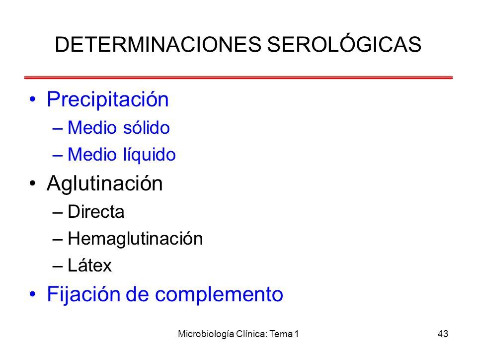 Microbiología Clínica: Tema 143 Precipitación –Medio sólido –Medio líquido Aglutinación –Directa –Hemaglutinación –Látex Fijación de complemento DETER
