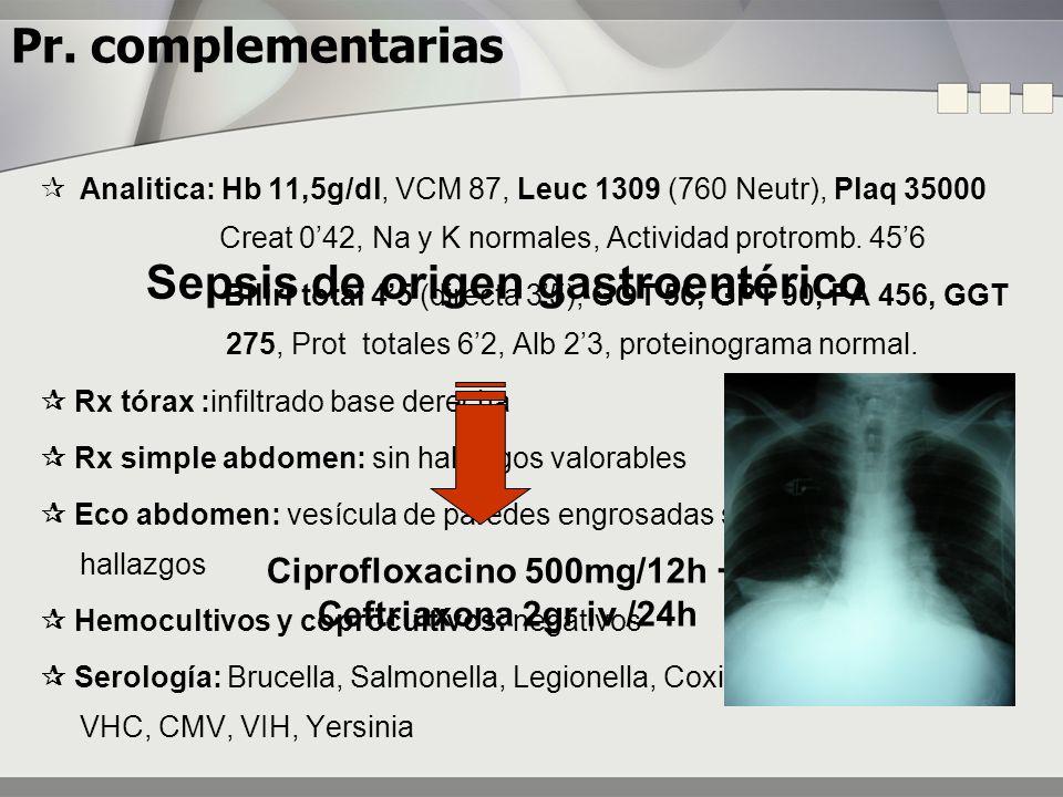 Pr. complementarias Analitica: Hb 11,5g/dl, VCM 87, Leuc 1309 (760 Neutr), Plaq 35000 Creat 042, Na y K normales, Actividad protromb. 456 Bilirr total