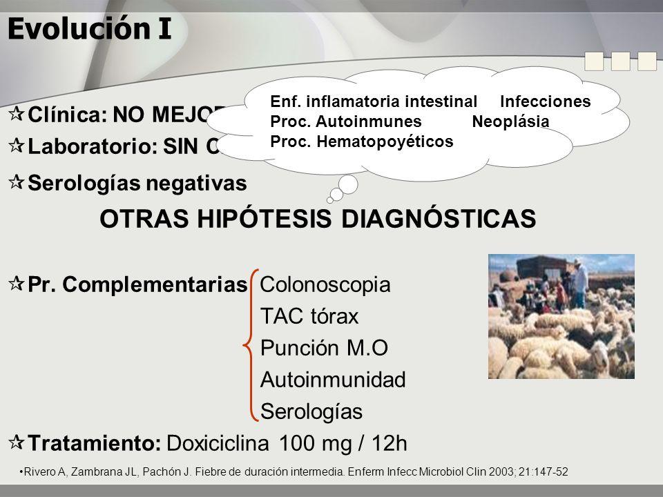 Evolución II EL PACIENTE NO MEJORA Tratamiento: Doxiciclina + Rifampicina 300mg/día Diagnóstico diferencial de los granulomas con anillo de fibrina.