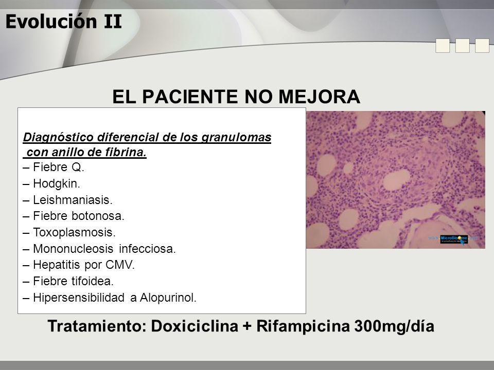 Evolución II EL PACIENTE NO MEJORA Tratamiento: Doxiciclina + Rifampicina 300mg/día Diagnóstico diferencial de los granulomas con anillo de fibrina. –