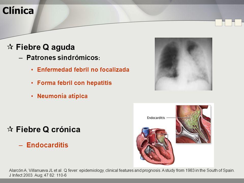 Clínica Fiebre Q aguda –Patrones sindrómicos : Enfermedad febril no focalizada Forma febril con hepatitis Neumonía atípica Fiebre Q crónica –Endocardi