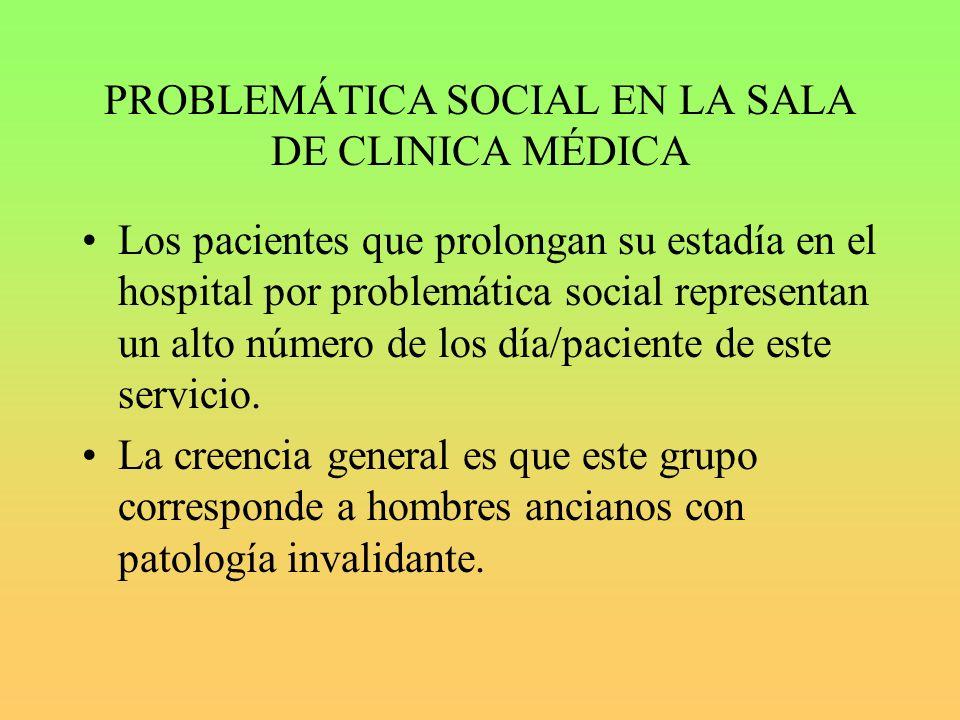 PROBLEMÁTICA SOCIAL EN LA SALA DE CLINICA MÉDICA Los pacientes que prolongan su estadía en el hospital por problemática social representan un alto número de los día/paciente de este servicio.