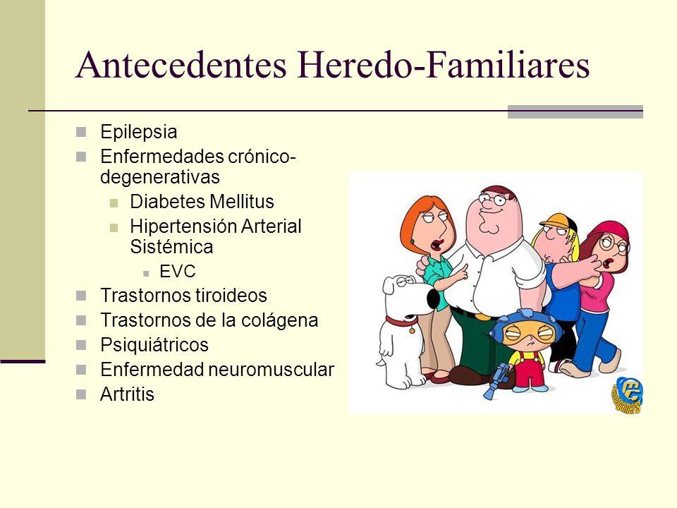 Antecedentes Heredo-Familiares Epilepsia Enfermedades crónico- degenerativas Diabetes Mellitus Hipertensión Arterial Sistémica EVC Trastornos tiroideos Trastornos de la colágena Psiquiátricos Enfermedad neuromuscular Artritis