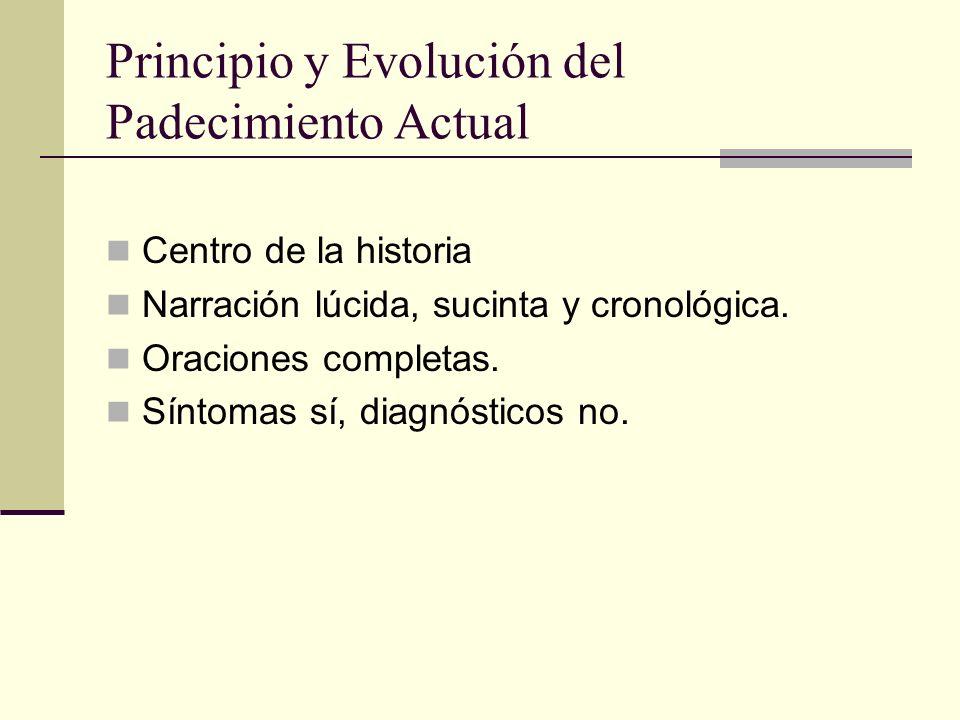 Principio y Evolución del Padecimiento Actual Centro de la historia Narración lúcida, sucinta y cronológica.