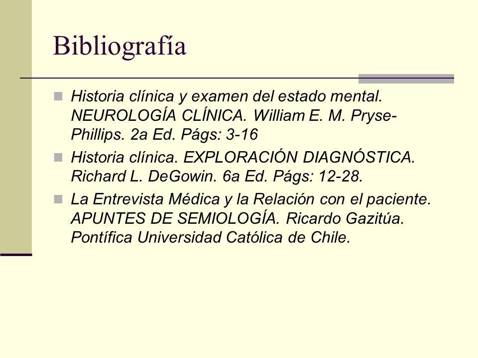 Bibliografía Historia clínica y examen del estado mental.